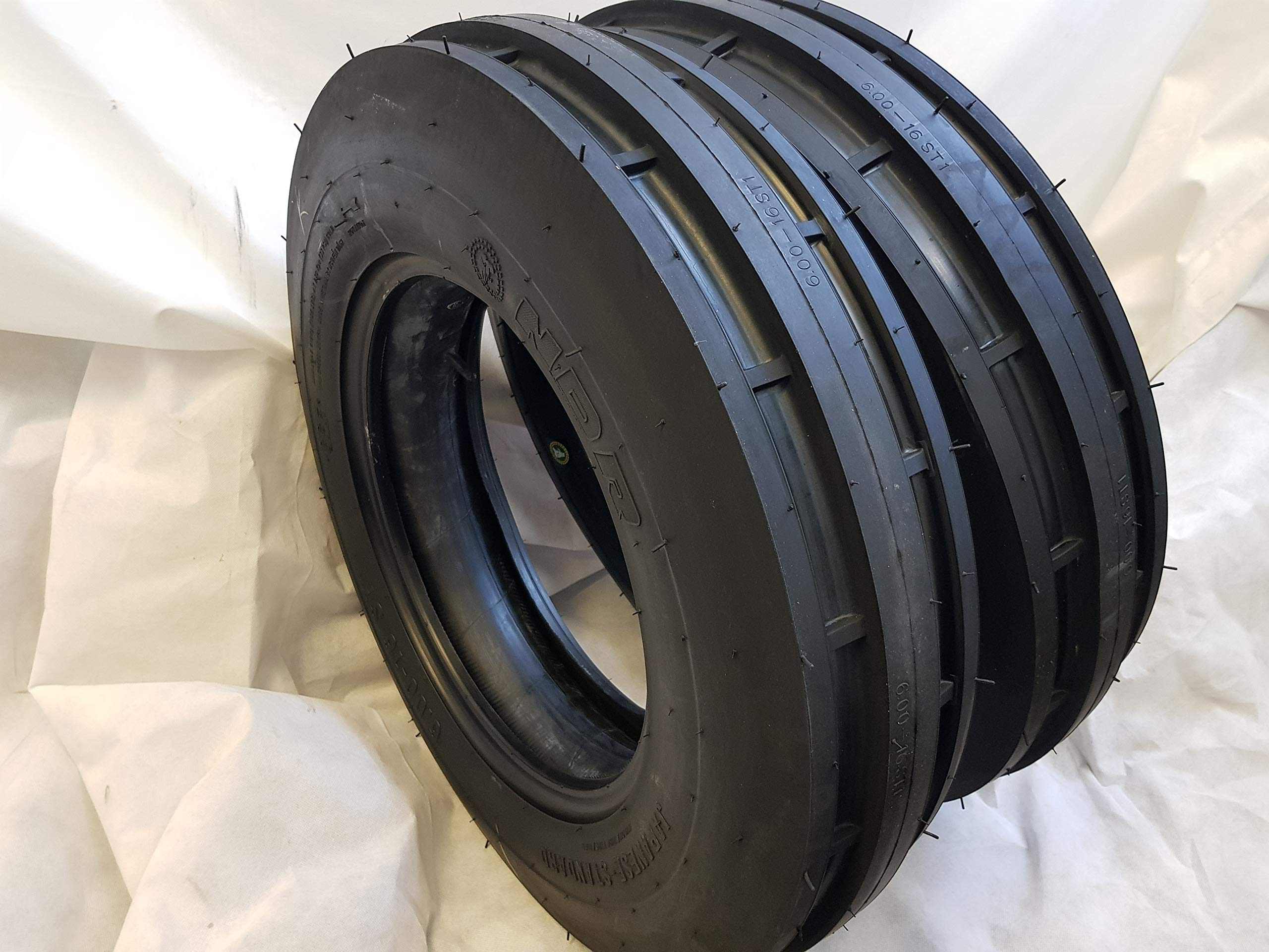 (2 TIRES + 2 TUBES) 6.00-16 8 PLY ROAD WARRIOR NDR ST-1 F2 3-Rib Farm Tractor Tire 6.00x16 by ROAD WARRIOR NDR (Image #2)