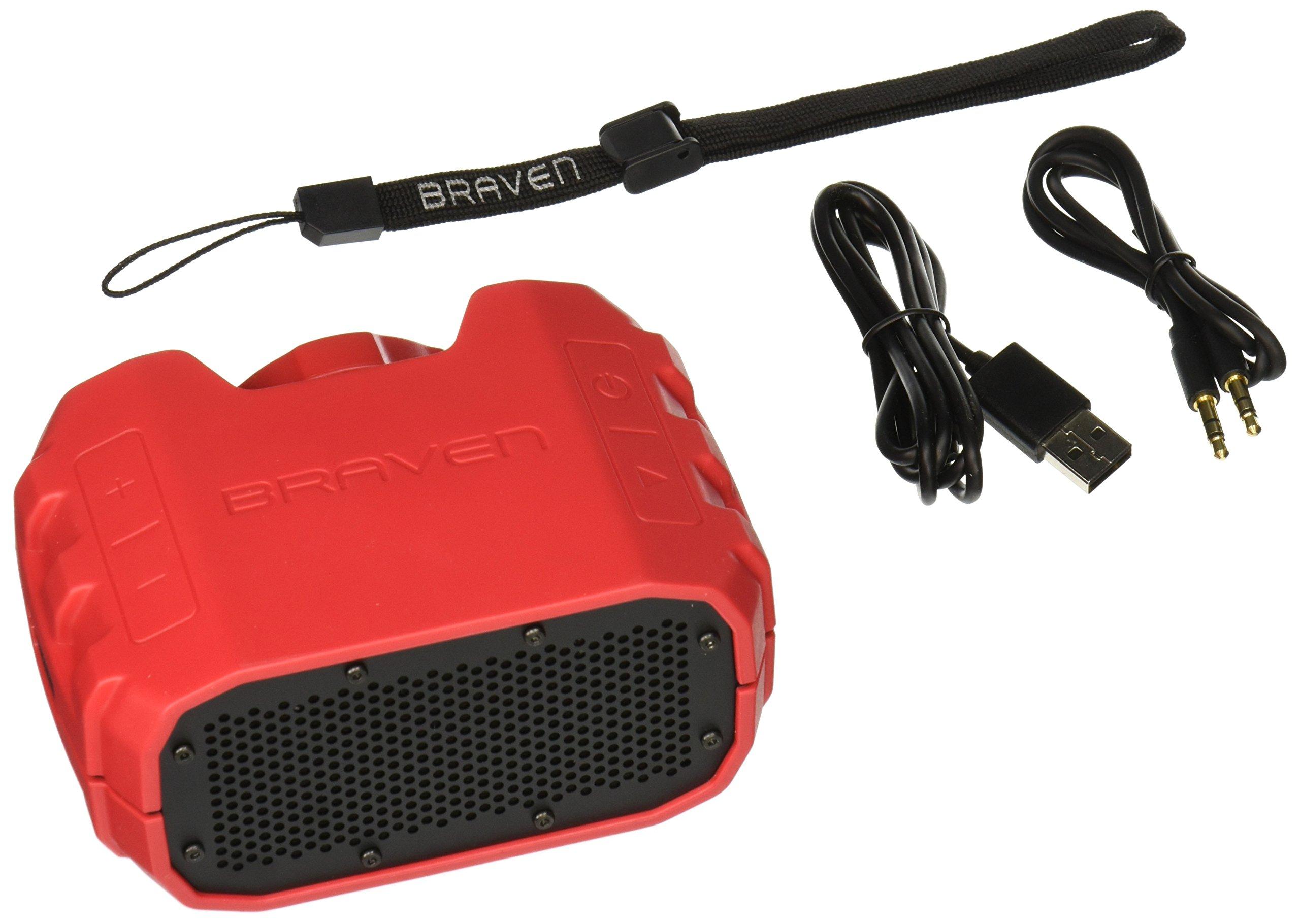 BRAVEN BRV-1 Portable Wireless Bluetooth Speaker [12 Hours][Waterproof] Built-in 1400 mAh Power Bank Charger- Red/Dark Gray by Braven