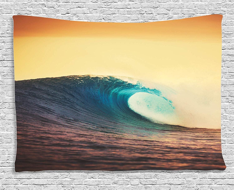 Ambesonne Ocean Tapestry, Ocean Breaking Wave at Sunset in Warm Colors Sea Seasonal Picture Art, Wide Wall Hanging for Bedroom Living Room Dorm, 80