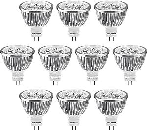 Dimmable LED MR16 Light Bulb 60° Spotlight for Recessed Track Accent Lighting 12V Low Voltage 4W (50W Halogen Equiv.) GU5.3 Bi-pin Base Warm White 3200K Pack of 10
