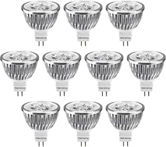 Dimmable LED MR16 Light Bulb 60° Spotlight for Recessed Track Accent Lighting 12V Low Voltage 4W (50W Halogen Equiv.) GU5.3 Bi-pin Base Warm White 3200K Pack of 10
