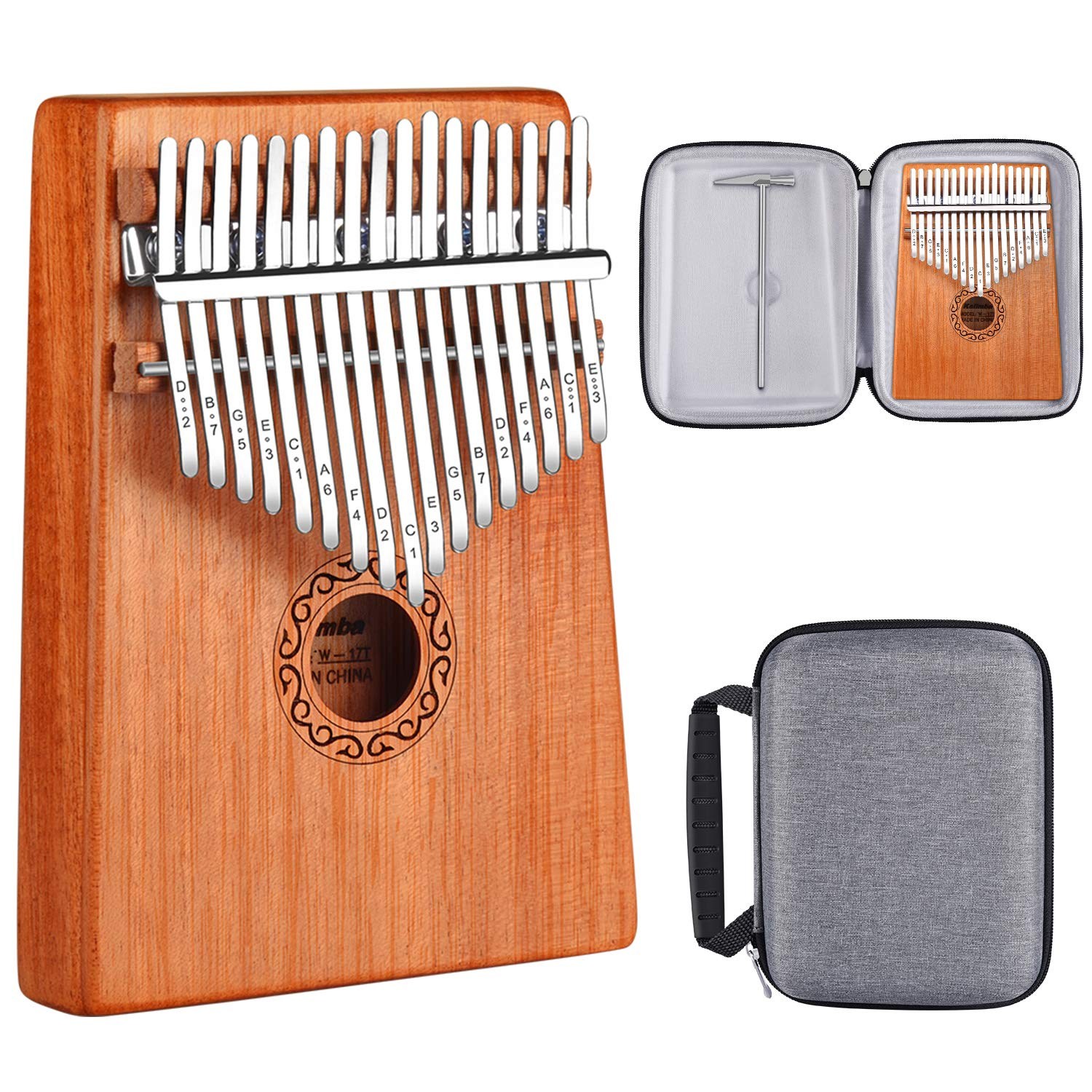 ATUP Kalimba 17 Keys Thumb Piano Solid Finger Piano Mahogany Body with Tuning Hammer Study Instruction Carry Case - Best Birthday Christmas Gift for Music Fans Kids Adults (Mahogany wood)