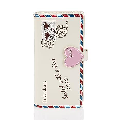 Shagwear - Monederos para mujeres jóvenes: Varios colores y diseños: (carta de amor beis / love letter beige)