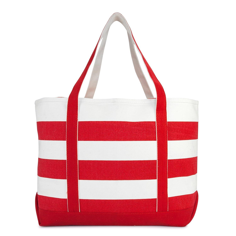 5488dd45a Amazon.com: DALIX Striped Boat Bag Premium Cotton Canvas Tote in Red: DALIX  USA