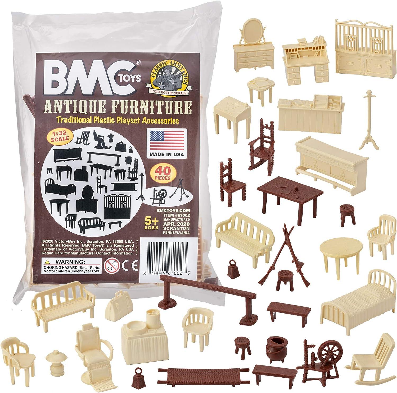 BMC Classic Marx Antique Furniture - 40pc Dollhouse Plastic Playset Accessories