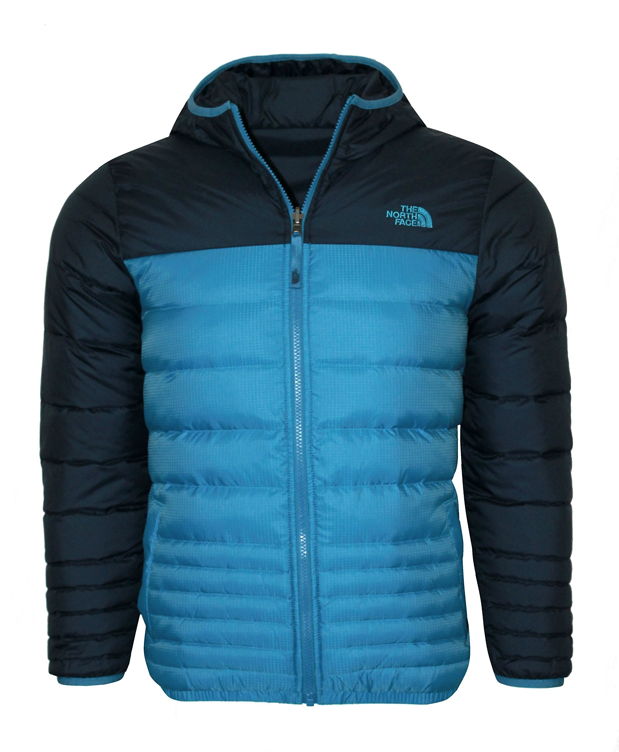THE NORTH FACE youth boys REESE DOWN REVERSIBLE hooded JACKET Heron Blue (L 14/16)