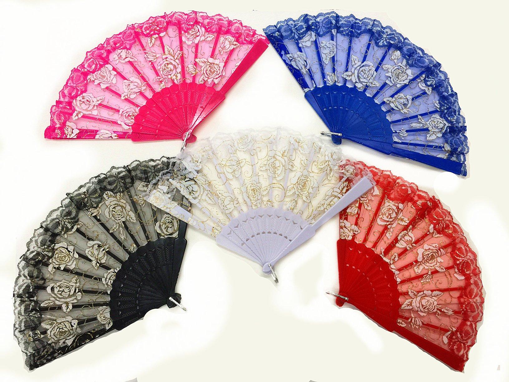 Dance Lace Fan 5 pcs Set
