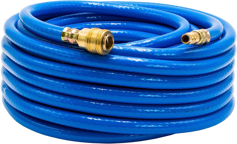 AWM Druckluftschlauch inkl 9 x 14 mm, blau, 15 Meter Schnellkupplung 1//4 Druckschlauch Luftschlauch Gewebeschlauch