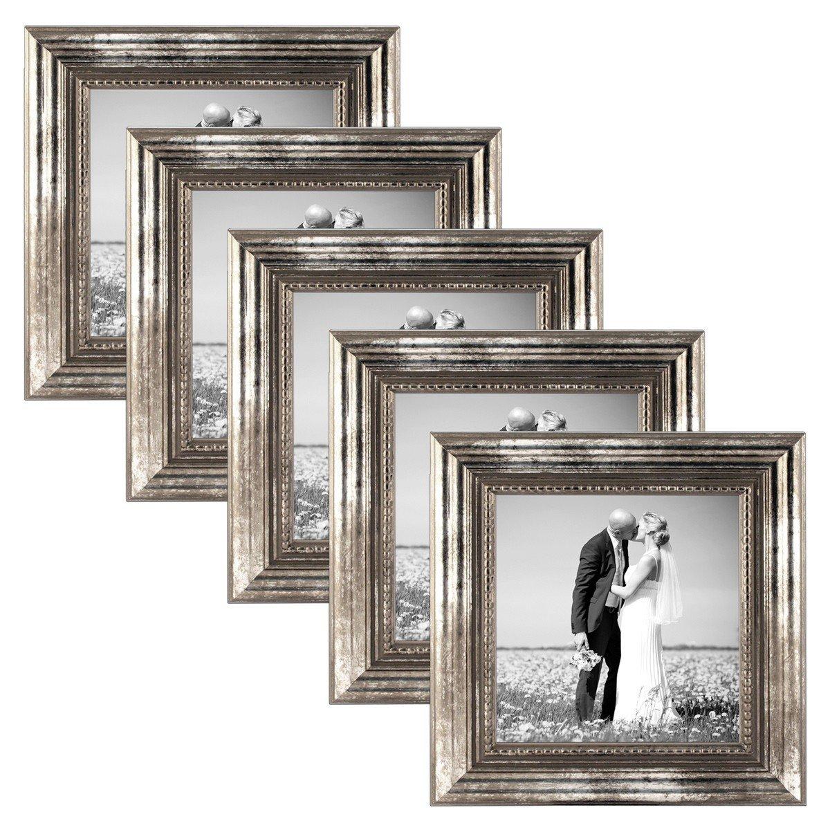 PHOTOLINI 5er Set Set Set Bilderrahmen 21x30 cm DIN A4 Silber Barock Antik Massivholz mit Glasscheibe und Zubehör Fotorahmen Barock-Rahmen 0fd137