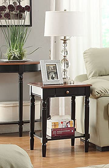 Convenience Concepts French Country End Table With Drawer And Shelf, Cherry