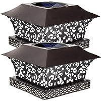 Siedinlar Solar Post Lights Outdoor Deck Fence Cap Light Solar Powered Metal White LED Lighting Waterproof for Patio…