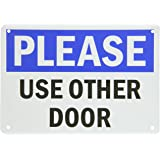 """SmartSign Plastic Sign, Legend """"Please - Use Other Door"""", 7"""" high x 10"""" wide, Black/Blue on White"""