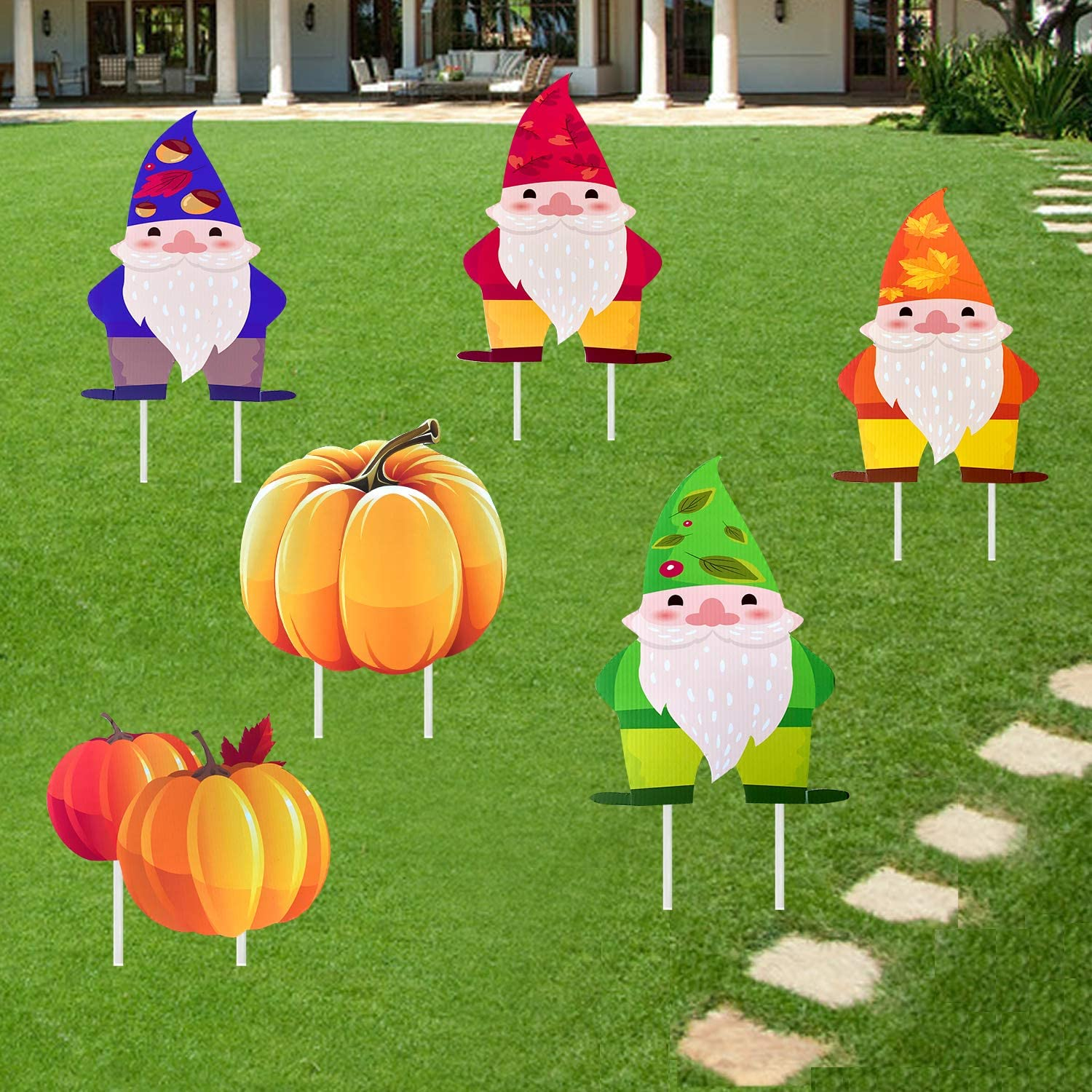 Deloky 6PCS Fall Thanksgiving Yard Sign with Stakes- Autumn Harvest Outdoor Lawn Sign Walkway Decor-Fall Gnome Swedish Autumn Tomte Elf Corrugated Yard Signs