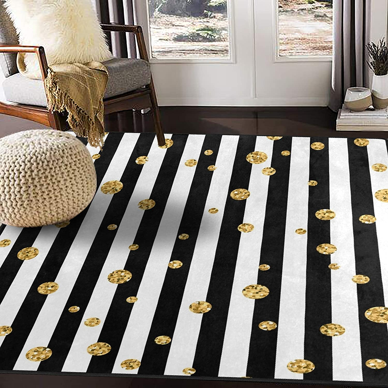 Amazon Com Alaza Gold Glitter Polka Dots On Black And White Striped Area Rug Rugs For Living Room Bedroom 5 3 X4 Home Kitchen