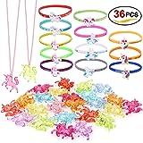 Konsait Unicornio Colgante Collares para Niñas y Unicornio Pulsera de Silicona Ideal para Infantiles Juguetes Regalos Artículos de Fiesta de Cumpleaños de Niños Piñata - 36 Pack
