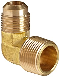 "Anderson Metals Brass Tube Fitting, 90 Degree Elbow, 3/8"" Flare x 1/2"" Male Pipe"