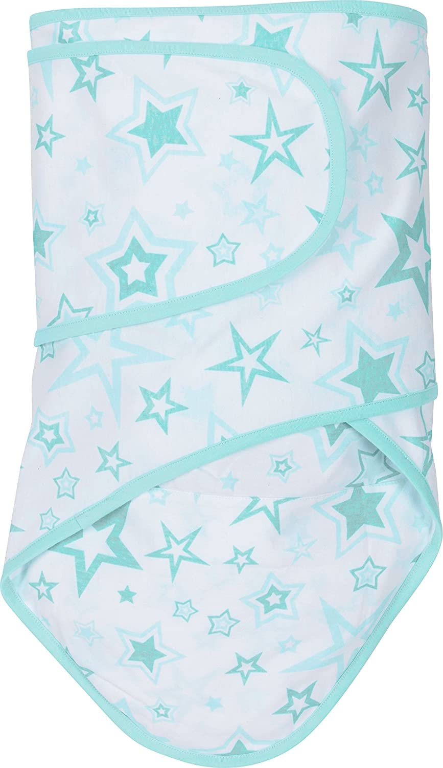 Miracle Blanket Swaddle Wrap for Newborn Infant Baby, Aqua Stars