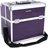 Songmics Grand Beauty case Malette coffrets boîte à maquillage 36,5 x 22 x 35 cm violet JBC229