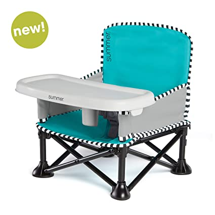 Summer Pop 'N Sit Se Booster Chair, Sweet Life Edition, Aqua Sugar Color – Booster Seat For Indoor/Outdoor Use – Fast, Easy And Compact Fold by Summer Infant