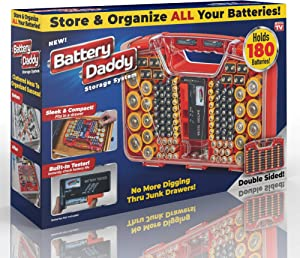 Ontel Battery Daddy, 180 Battery Organizer and Storage Case with Tester