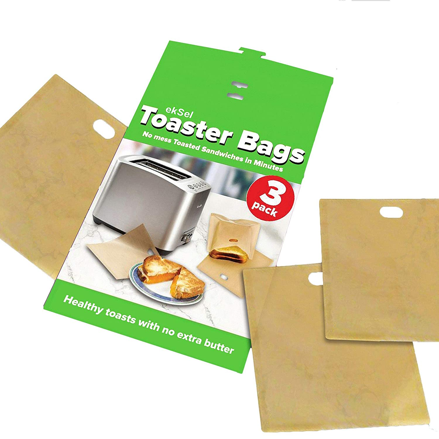 ekSel Non Stick Reusable Toaster Bags, Pack of 3 TTRBAG001