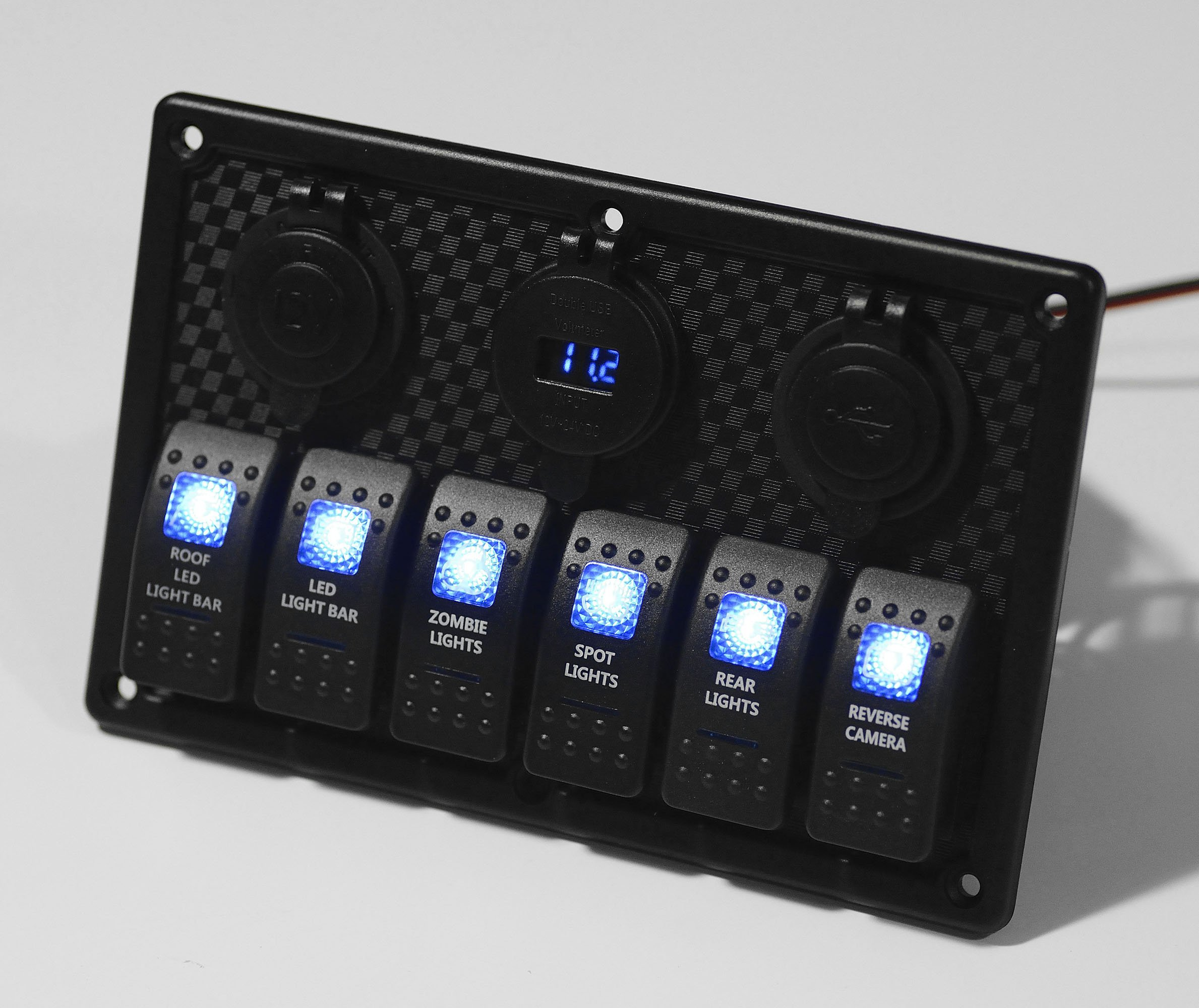 BANDC Marine Grade Boat Car Auto ATV Blue Led Lamp 6 gang Rocker Switch Panel & 12V/24V Power outlet socket & Four USB Charger ports & Voltage Meter with 3pcs 15A Fuses by BANDC (Image #2)