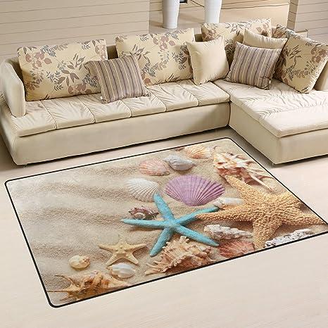 WOZO Seashells Starfish Summer Beach Sand Area Rug Rugs Non Slip Floor Mat Doormats Living