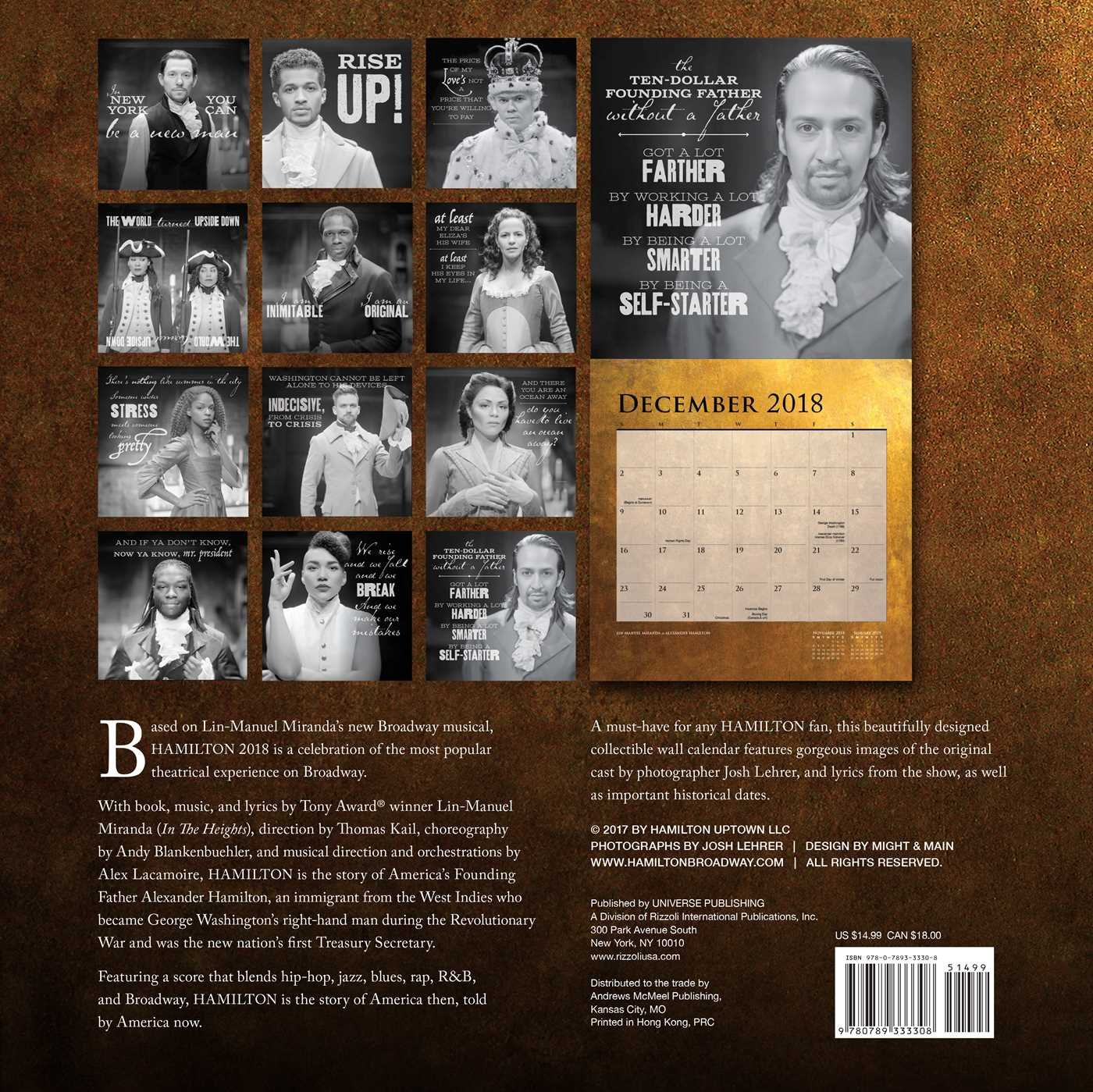 hamilton 2018 wall calendar hamilton uptown llc 0676728033301 amazoncom books