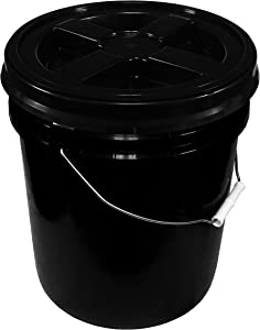 Black 5 Gallon 90 mil Bucket with Gamma Seal Lid (Black)