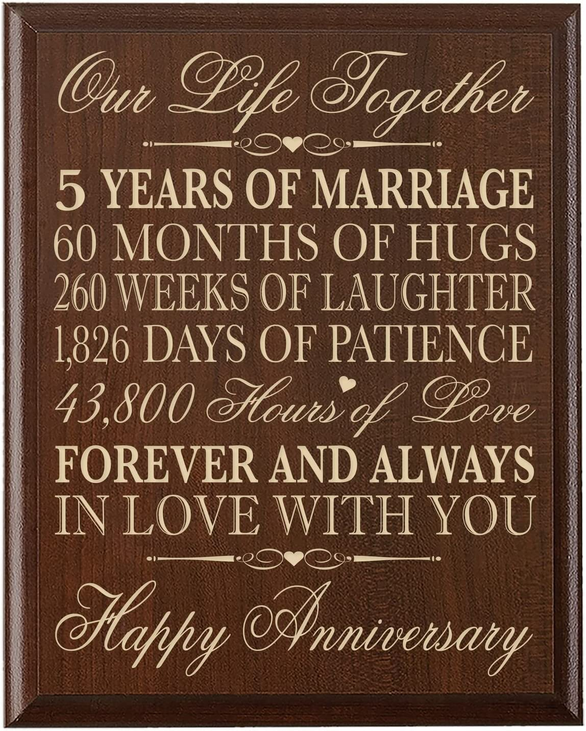 LifeSong Milestones 10th Wedding Anniversary Cherry Wall Plaque Gifts for  Couple, 10th for Her,10th Wedding for Him 10 inches Wide X 110 inches high  Wall