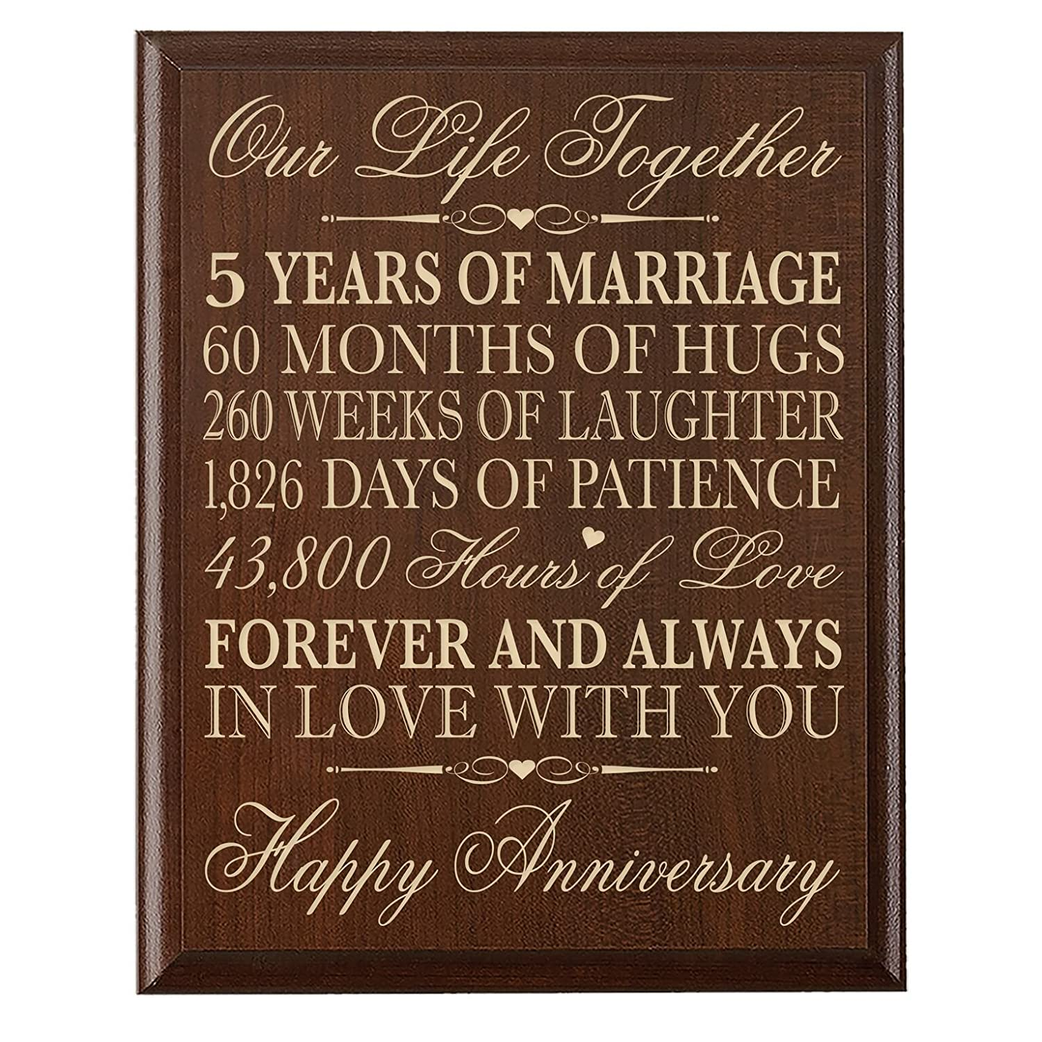 LifeSong Milestones 5th Wedding Anniversary Cherry Wall Plaque Gifts for Couple 5th Anniversary Gifts for Her,5th Wedding Anniversary Gifts for Him 12 inches wide X 15 inches high Wall Plaque By