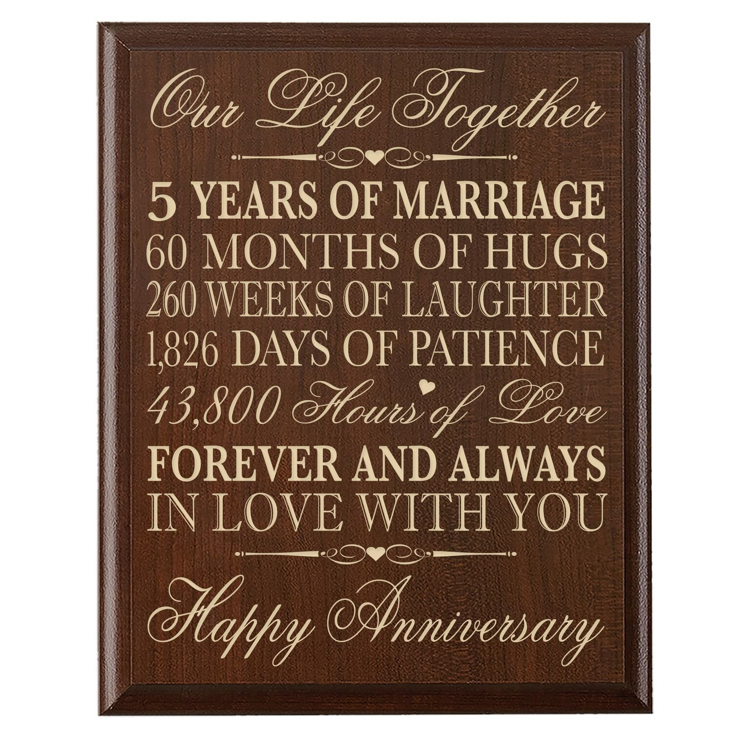 LifeSong Milestones 5th Wedding Anniversary Cherry Wall Plaque Gifts for Couple, 5th Anniversary Gifts for Her,5th Wedding Anniversary Gifts for Him 12 inches wide X 15 inches high Wall Plaque By by LifeSong Milestones (Image #1)