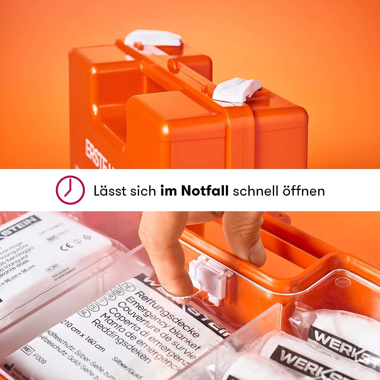 Erste Hilfe Kasten mit Inhalt nach DIN 13157 I Inkl praktischer Wandhalterung und Plombe I Erste Hilfe Koffer f/ür Betriebe Einrichtungen /& Zuhause