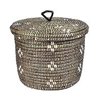 African Fair Trade Flowers Hand Woven Lidded Basket, Black/White