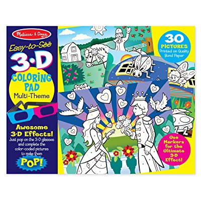 Melissa & Doug Easy-to-See 3-D Kids' Coloring Pad - Princesses, Fairies, Horses, and More: Toys & Games
