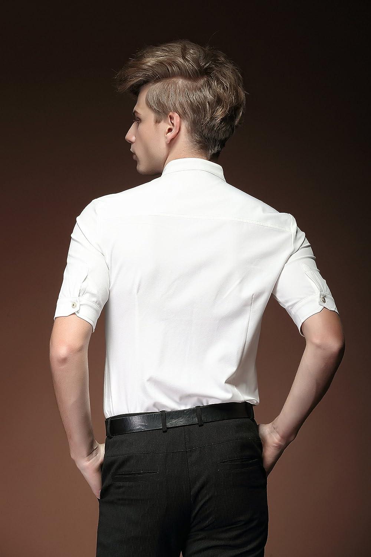 FANZHUAN Summer Casual White Shirt Mens Fashion Slim Fit Stand Collar Short Sleeve