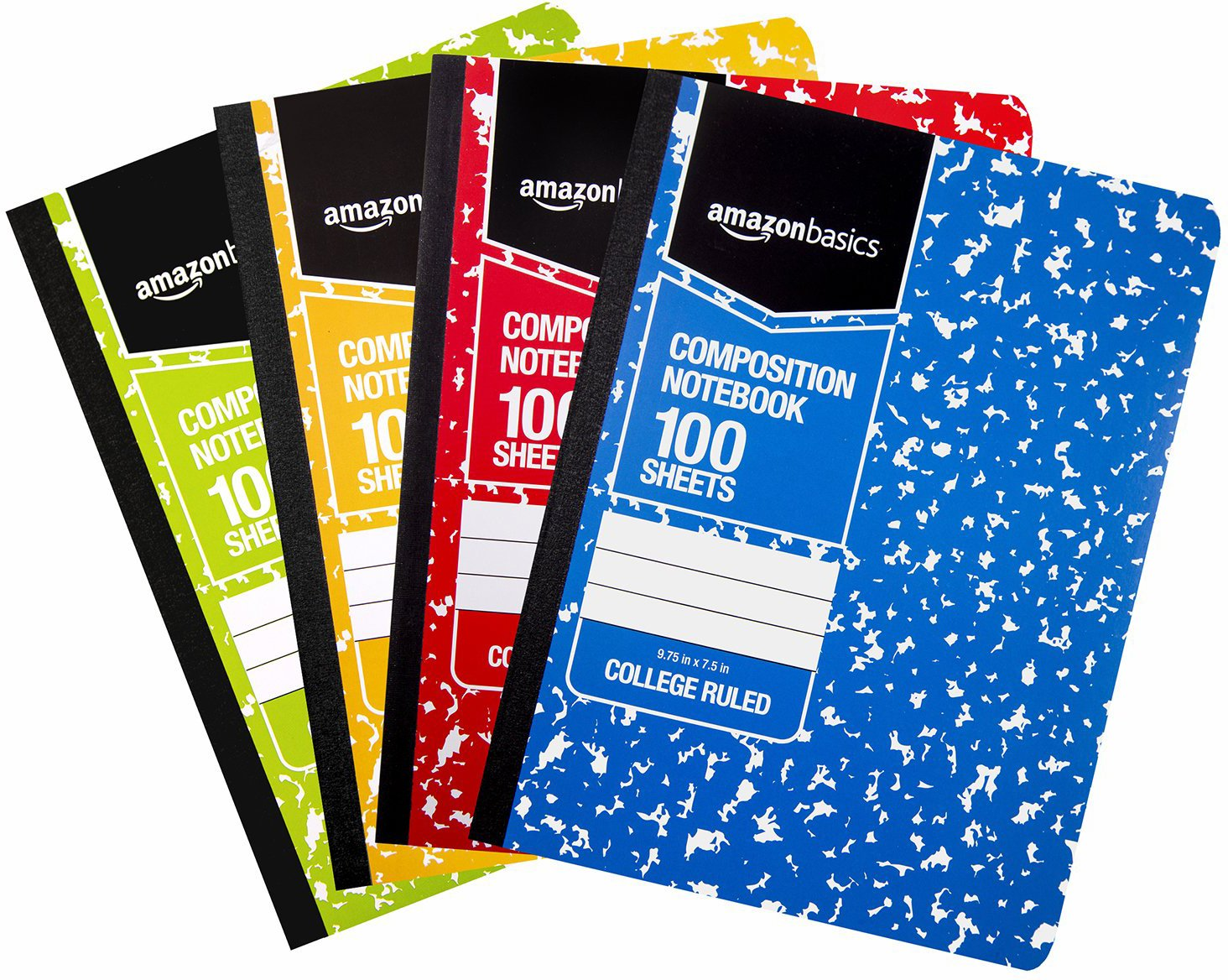 AmazonBasics College Ruled Composition Notebook, 100-Sheet, Assorted Marble Colors, 4-Pack