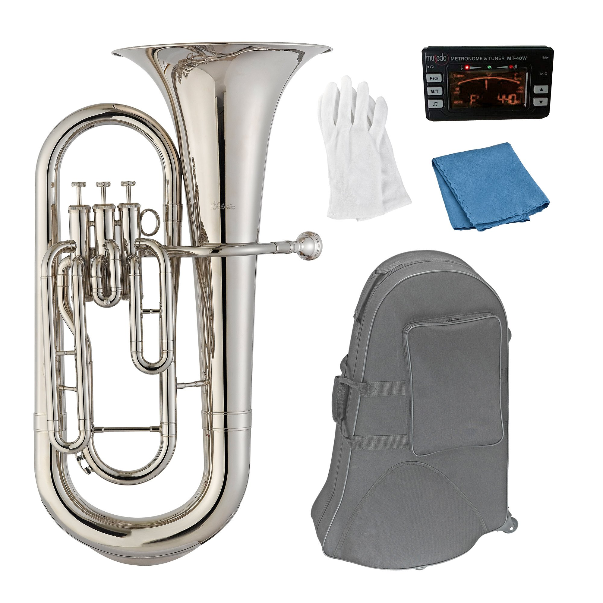 Estella EU200N Nickel Plated B Flat Euphonium with Stainless Steel Pistons by Estella (Image #1)