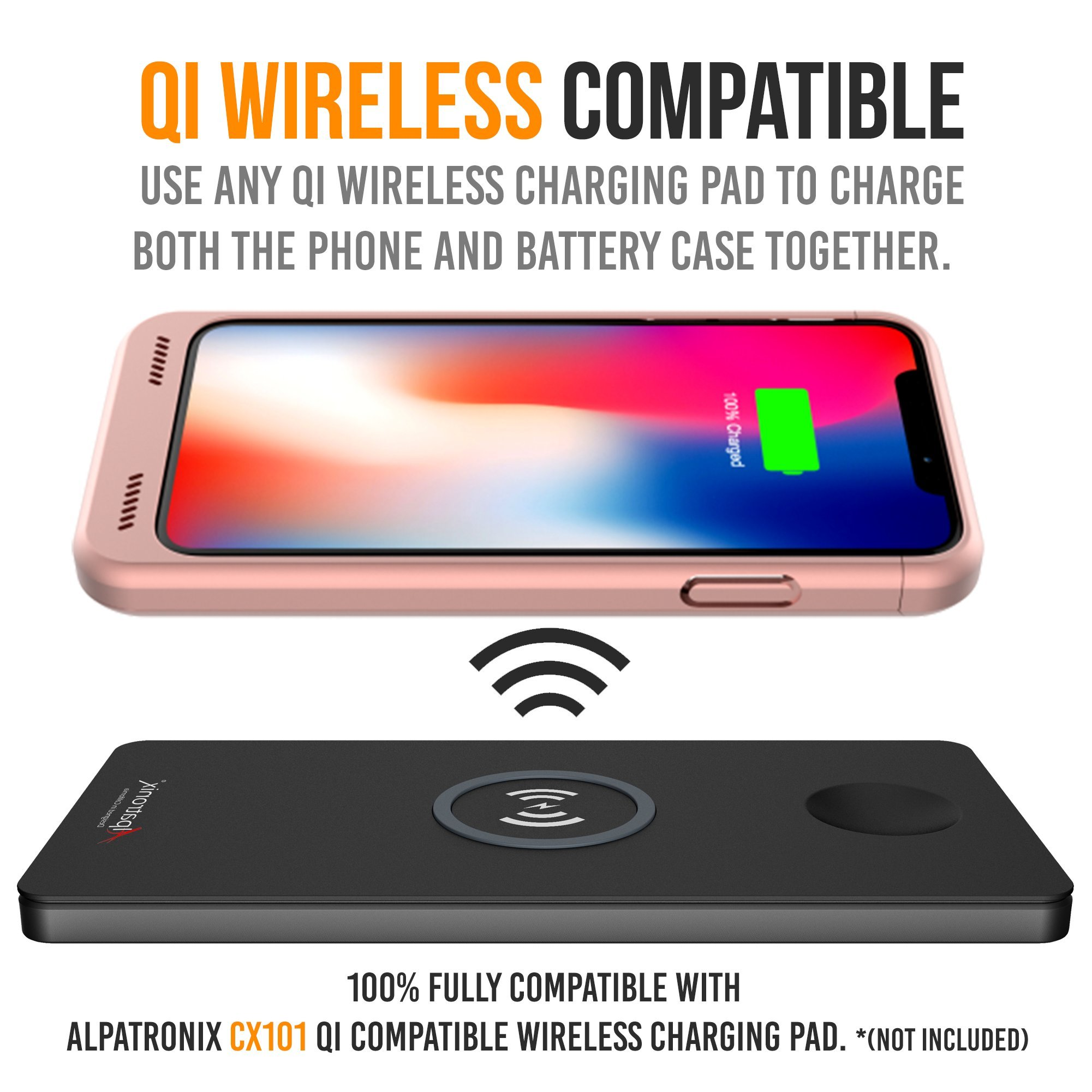 low priced c1bb2 d1ee2 iPhone X/XS Battery Case Qi Wireless Charging Compatible, Alpatronix ...