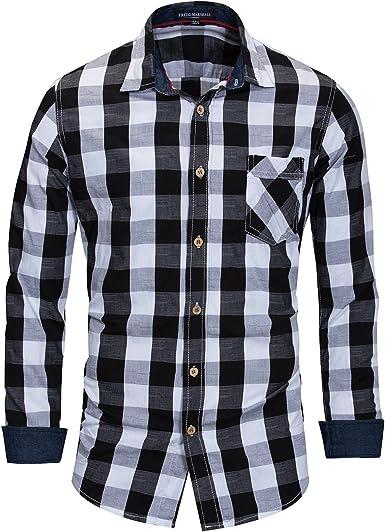 Camisa De Manga Larga A Cuadros 100% Algodón De Los Hombres Camisa Casual Tamaño Grande: Amazon.es: Ropa y accesorios