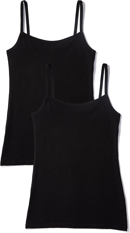 Marca Amazon - IRIS & LILLY Camiseta de Tirantes Body Natural para Mujer, Pack de 2