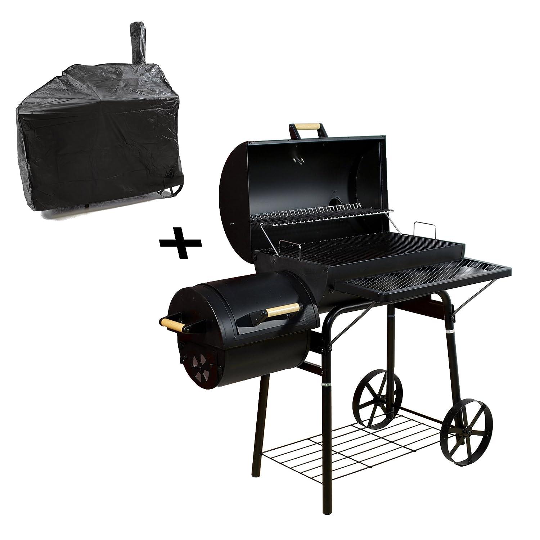 BBQ Grill Smoker Grillwagen Holzkohlegrill mit Schutzhülle 2 Kammern Barbecue 120x65x135 cm, 32 kg, Transporträder, Temperaturanzeige, Stahlblech, Lüftungsklappen, Ablageflächen, Abdeckplane