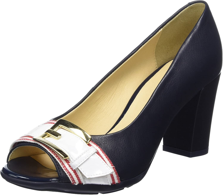 TALLA 38 EU. Geox D Annya Spuntato C, Zapatos de tacón con Punta Abierta para Mujer