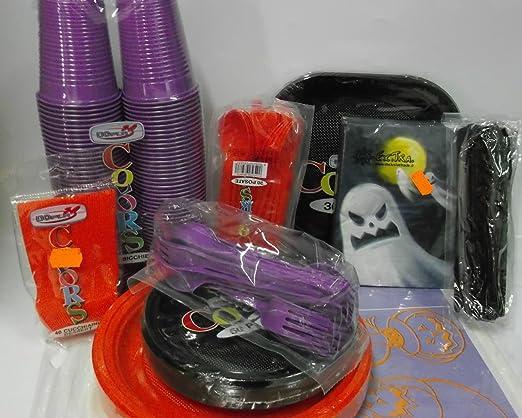 Juego de mesa para fiestas, halloween, de miedo, platos, vasos, cubiertos, servilletas: Amazon.es: Hogar