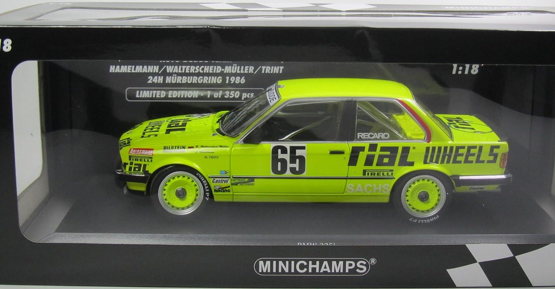 Minichamps BMW 325i Läppen–24h Nürburgring 1986–Echelle 1/18, 155862665, neongelb