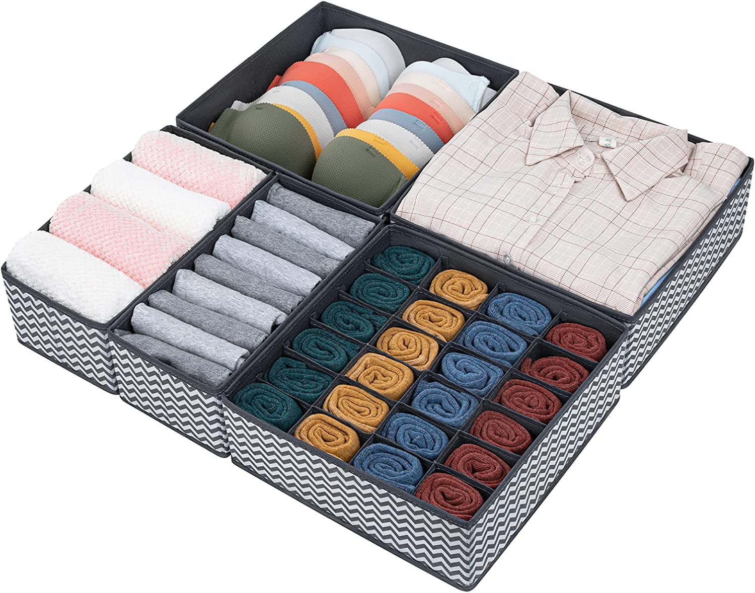 DIMJ Underwear Drawer Organizers, 5 Pcs Foldable Sock and Underwear Drawer Organizer Divider, Closet Fabric Organizers and Storage Drawer Organizer for Underwear, Socks, Bras and Clothes