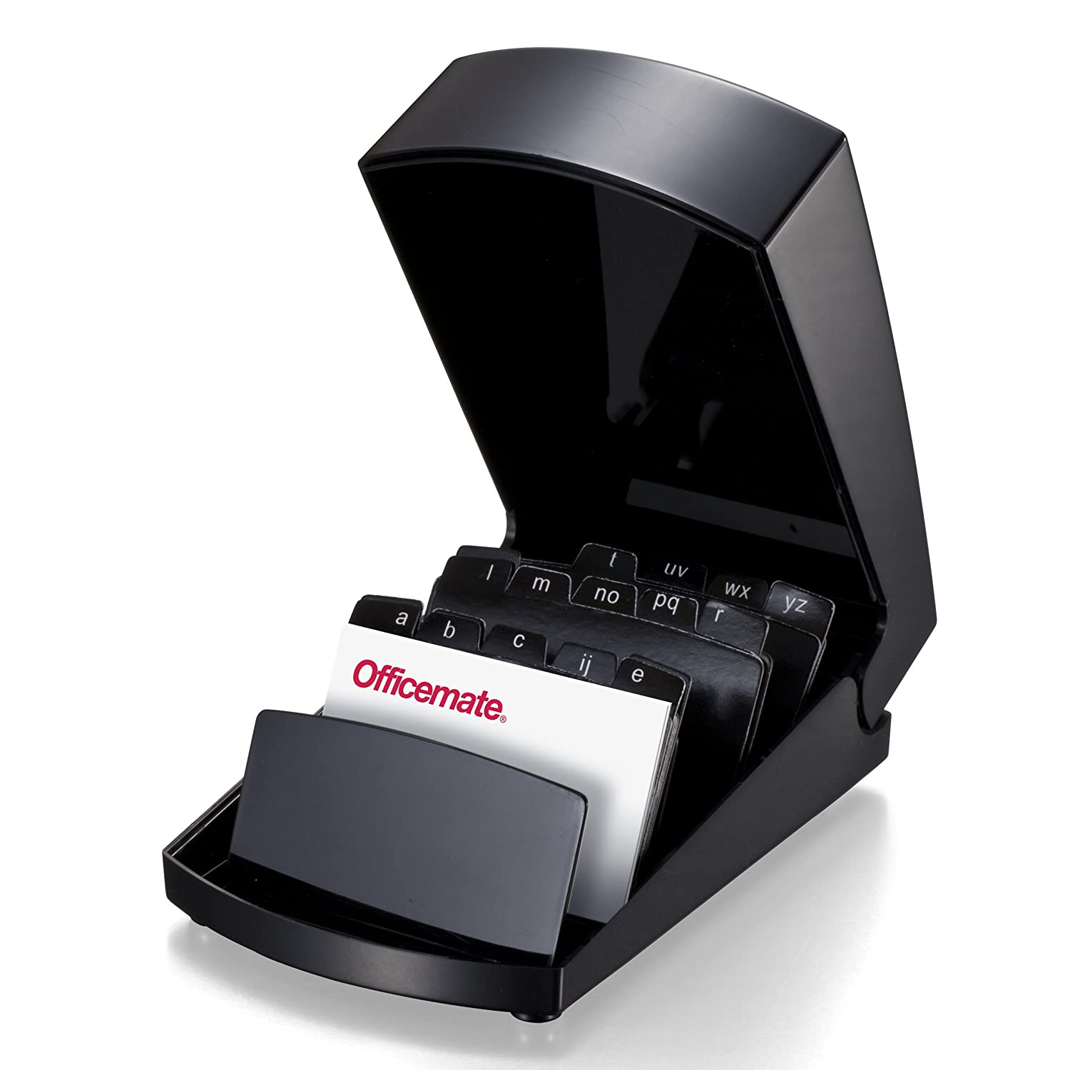 Officemate 2200 Series Business Card File Holder with Cover, Black ...