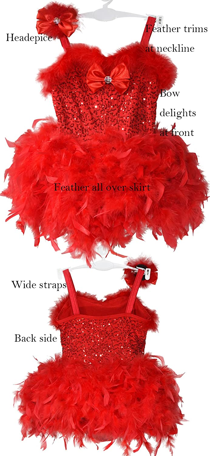 1cc0321711 Amazon.com  MiDee Feather Tutu Dress for Girls Sequins Camisole with Bows   Clothing