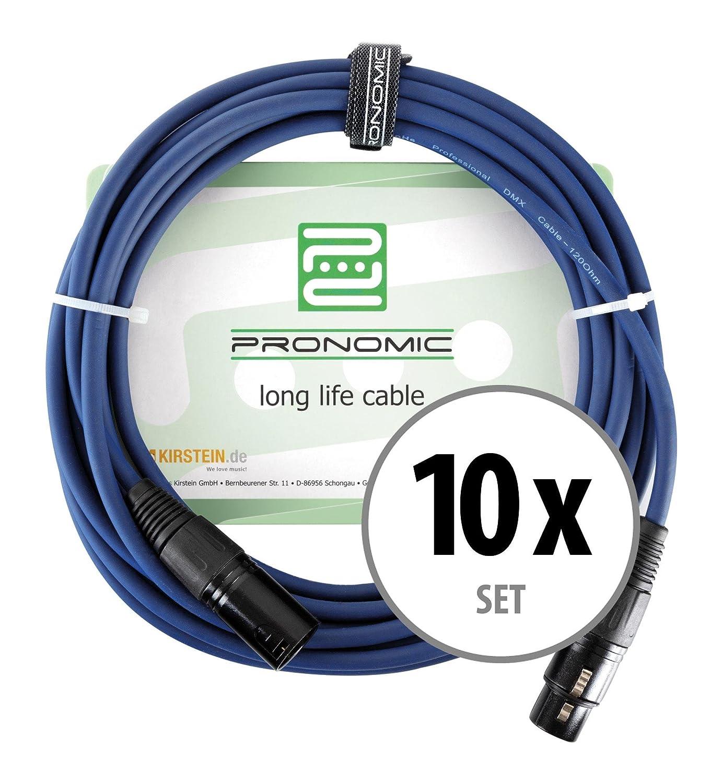10er Set Pronomic Stage DMX3-5 DMX-Kabel 5 Meter (zur Verkabelung ...