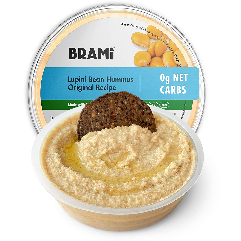 BRAMI Keto Lupini Bean Dip, Spread & Hummus   0g Sugar, 0g Net Carbs   Keto, Vegan, Vegetarian, Mediterranean, Non-Perishable, Shelf-Stable, Low Carb, Low Calorie   10oz (Original, 4 Count)
